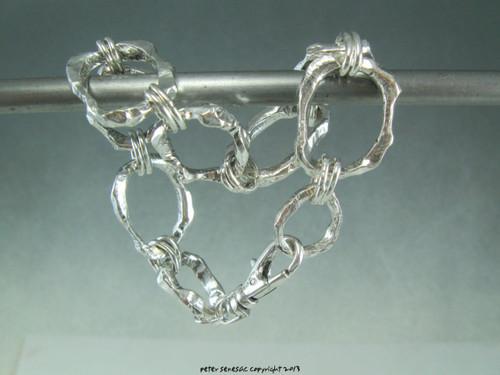 Whittled Sticks link bracelet in solid sterling silver