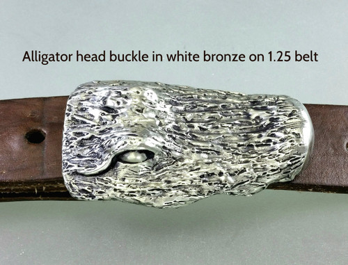 Alligator buckle in white bronze on 1.25 belt