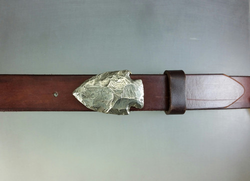 White Bronze Arrow head on 1 1/4 belt with the natural patina and satin finish