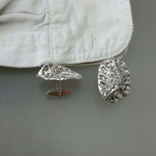 Solid sterling silver alligator scute cuff links