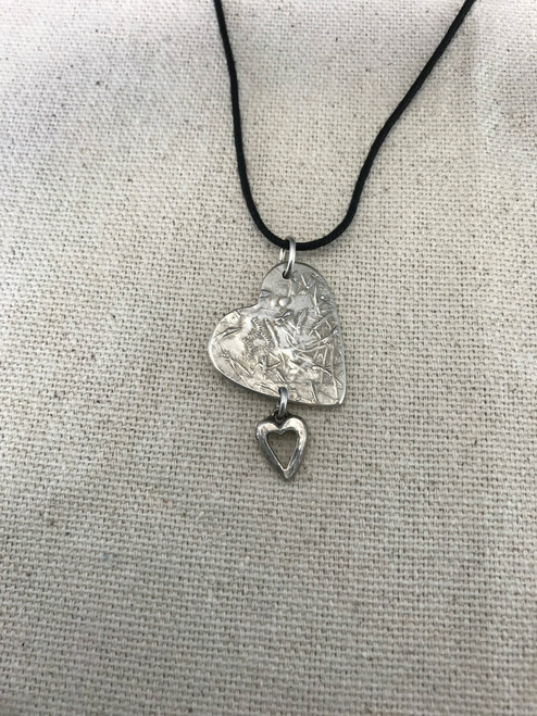 Double Patterned Heart Necklace Pendant in Solid Sterling Silver