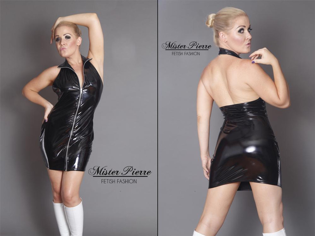 Halter Mini Dress with front zipper by Mister Pierre. The Vinyl Halter Top Dress is designed for a modern cut of intimidation and tease. The self locking separating zipper can be worn to any point not only to display chest or cleavage but always provide access for play to the entire front of the body.  Featured in this image:  2 inch collar  Halter Style Backless Top  Aluminum on Black Separating zipper, but 2 slider zipper available  Gloss Black 4-way stretch vinyl/PVC (Available in all fabrics)  Photo by Meg Schutz.   SKU: DR6  Price: $70.00