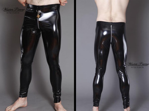 """Vinyl/PVC D-Ring  Leggings From Mister Pierre  Our D-Ring front leggings are unisex and designed for waist leading a servant or using the lock accentuation to send a very clear message of ownership. They have a two-slider crotch zipper for sexual access or genital/rear punishment.  They aren't simply leggings, they are a statement.  Featured in this image:  Hiphugger rise. Front 9"""", Rear 12"""". Gloss Black 4-way stretch vinyl/pvc (Available in all fabrics) Two-Slider Crotch Zipper Silver/Aluminum Front D-Ring **Padlock Not Included.  Photo by Meg Schutz.  SKU: L4 Price: $90.00"""