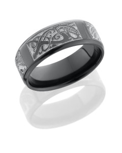 Zirconium 8mm beveled band with laser carved Serpents pattern
