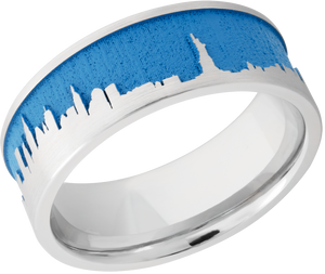 Cobalt Chrome 8mm flat band with laser carved New York skyline and Sea Blue Cerakote