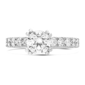 Double Prong Round White Diamond Ring