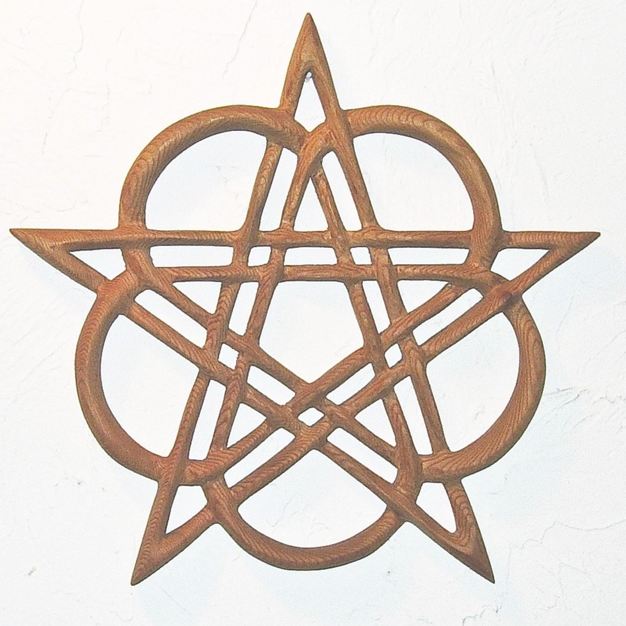 Celtic Healing Pentacle Heart Pentacle Wood Carved Celtic Knot