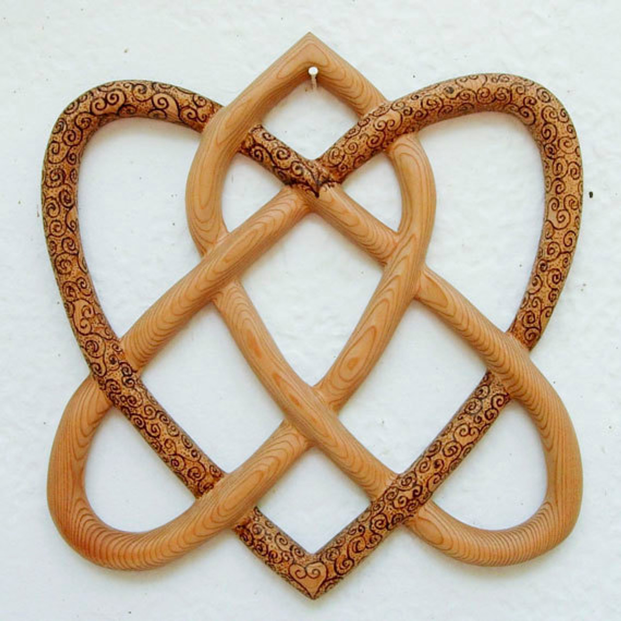 Wood Burned Irish Love Knot Traditional Celtic Knot Two Hearts