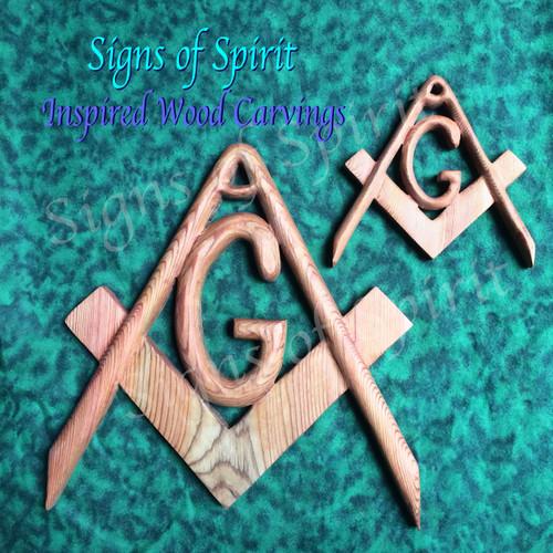 Masonic Symbol Freemasonry Emblem Wood Carved Compass And Square
