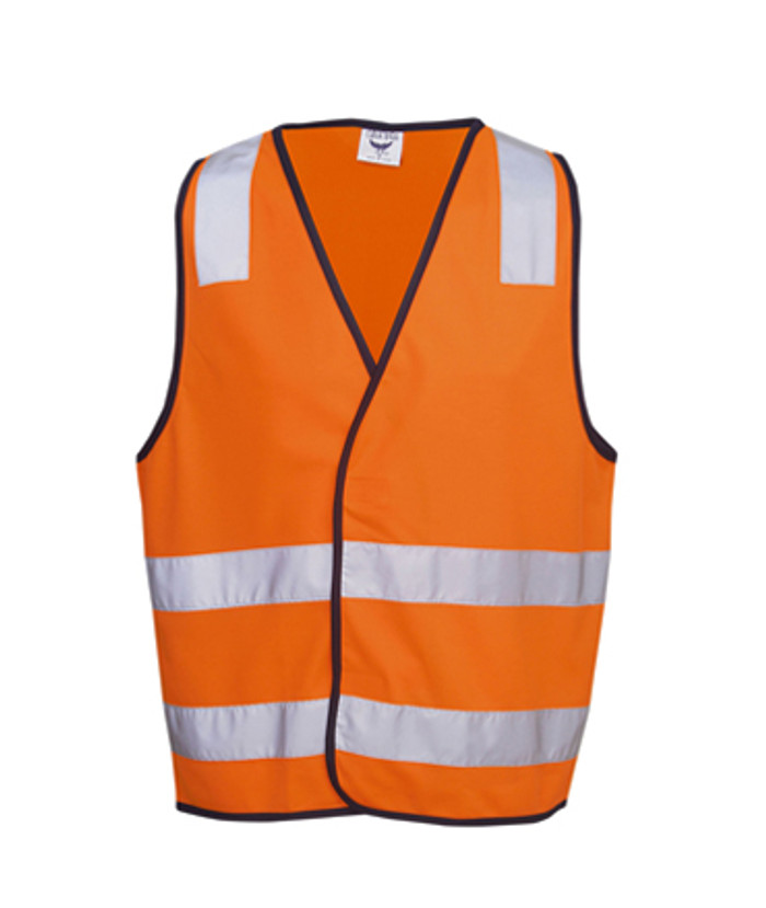 Safety Vest with H Pattern - Fluoro Orange/Navy (Front)