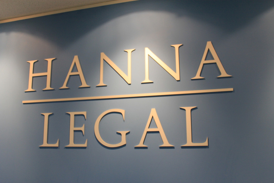 Hanna Legal Aluminium 3D Sign