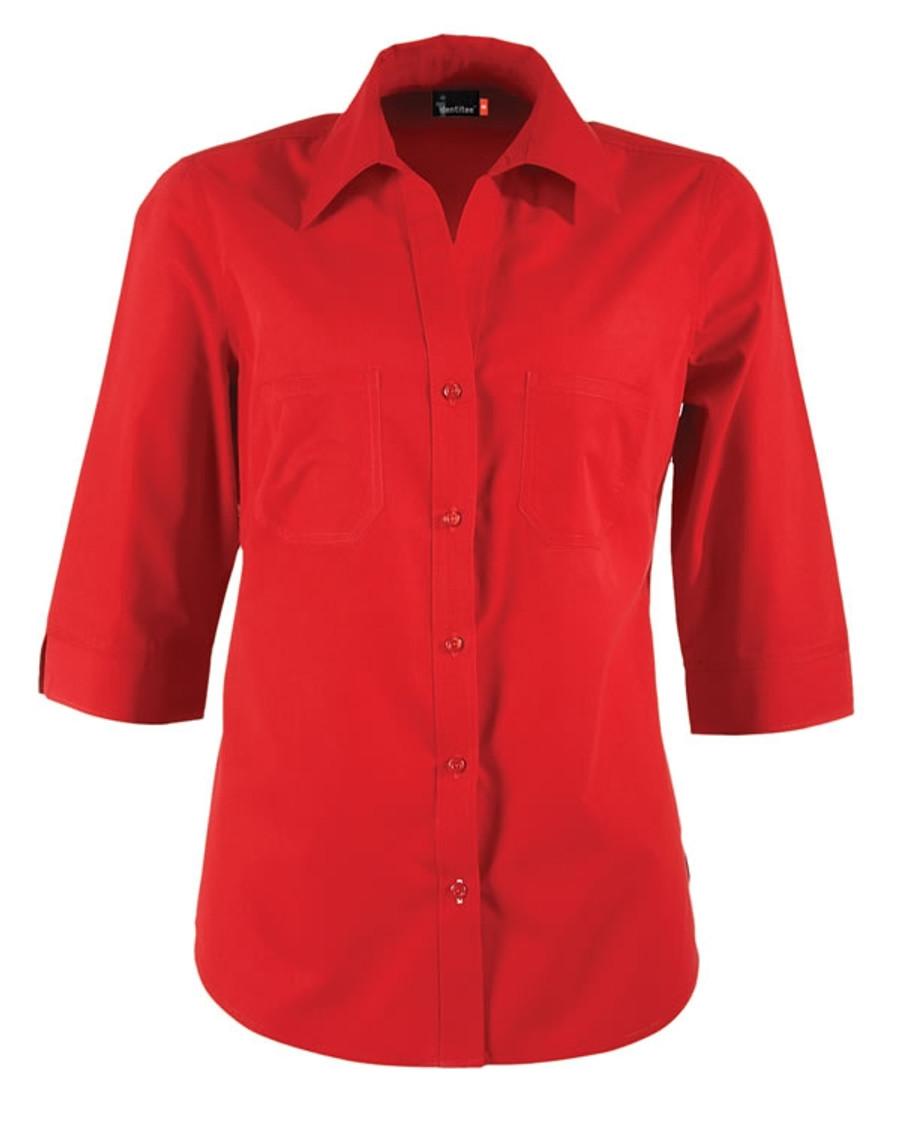 Ladies Harley 3/4 Sleeves Business Shirt (Red)