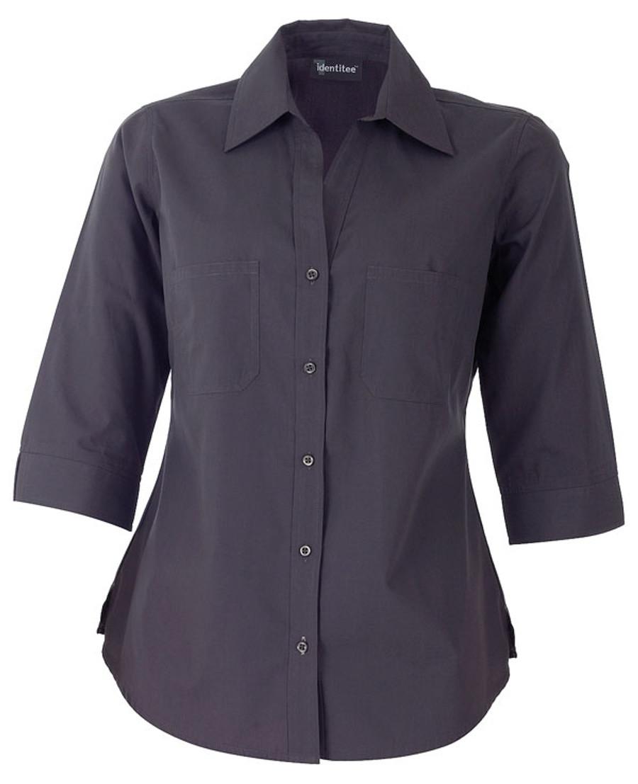 Ladies Harley 3/4 Sleeves Business Shirt (Gun Metal)