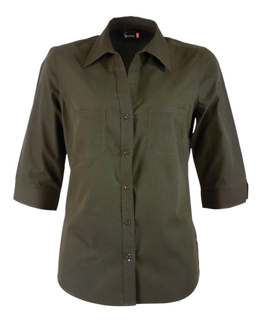 Ladies Harley 3/4 Sleeves Business Shirt (Military)