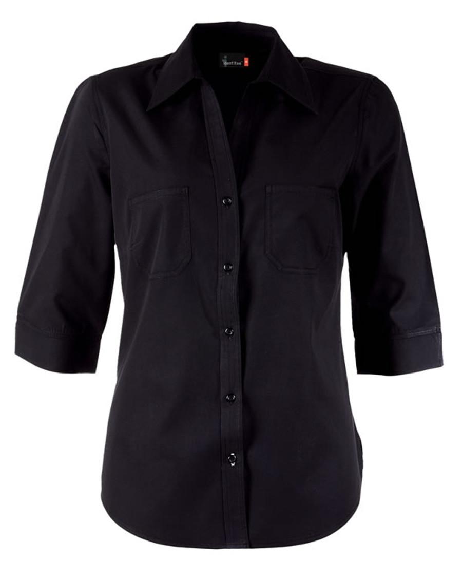 Ladies Harley 3/4 Sleeves Business Shirt (Black)