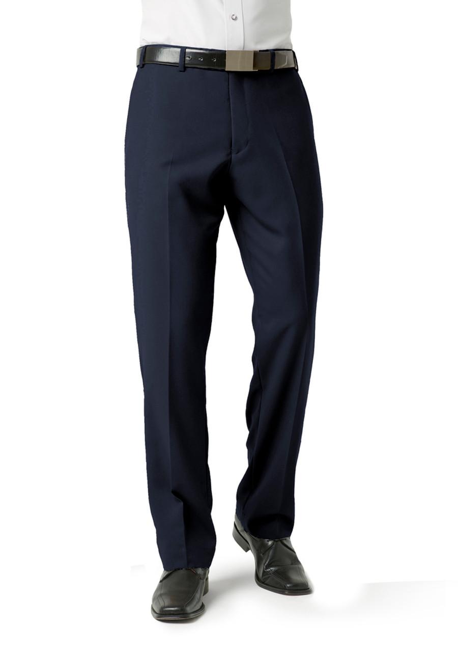 Mens Flat Front Pants (Navy)