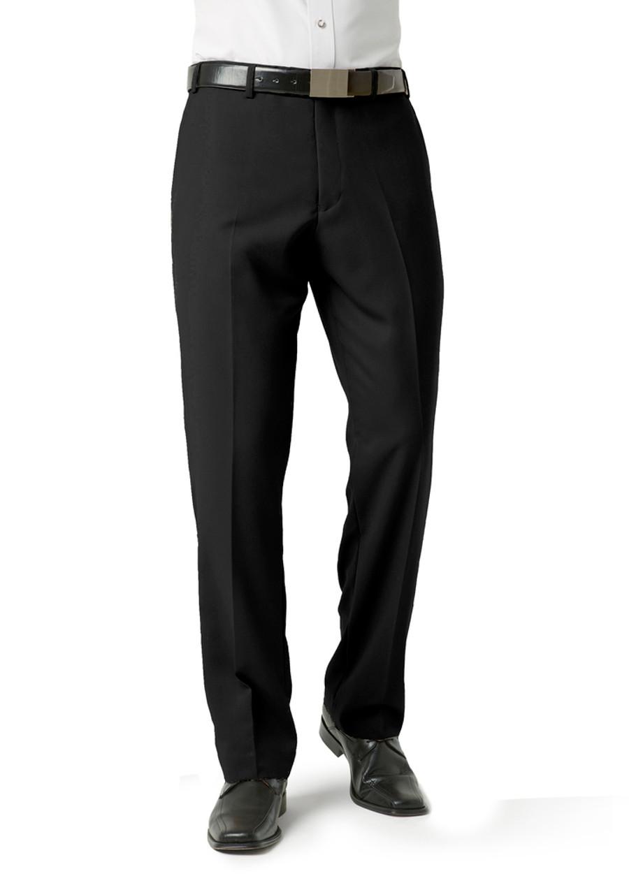 Mens Flat Front Pants (Black)