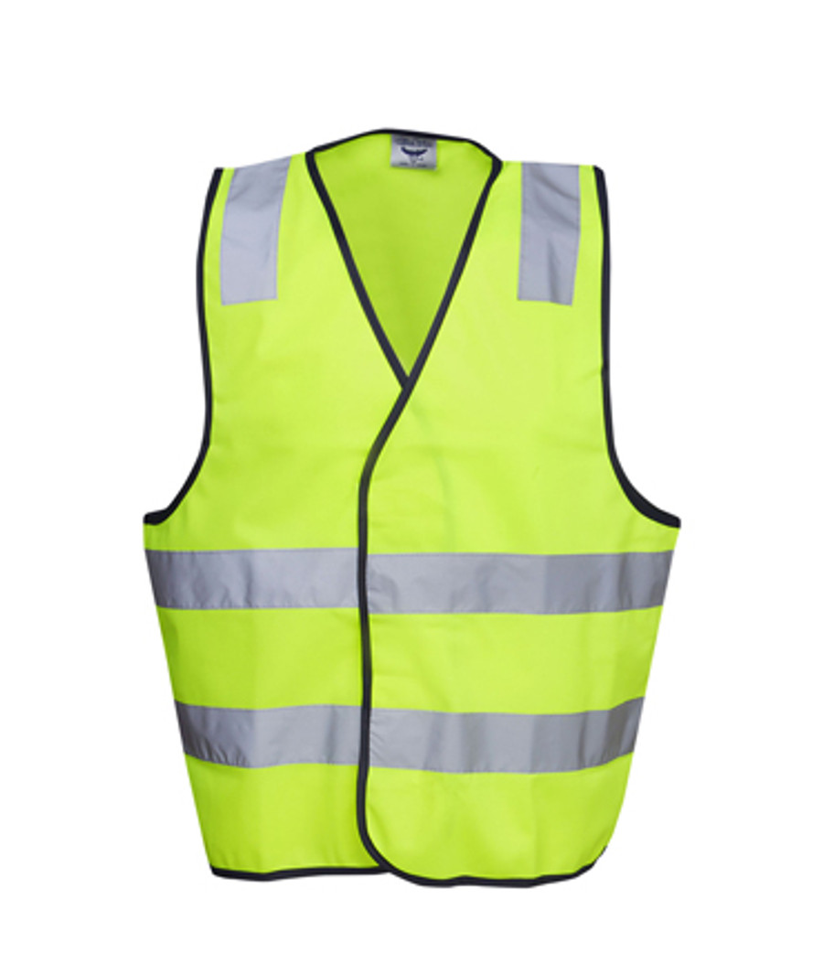 Safety Vest with H Pattern - Fluoro Yellow/Navy (Front)