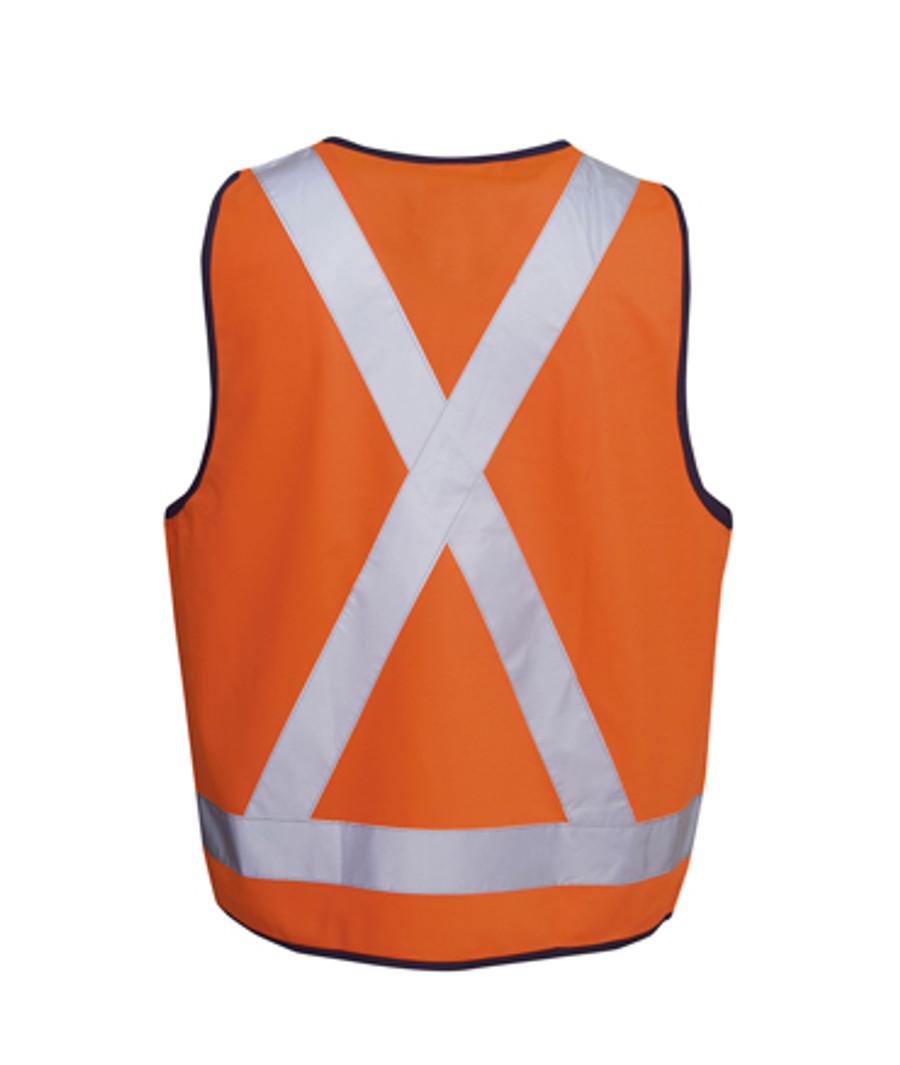 Safety Vest with X Pattern - Fluoro Orange/Navy (Back)