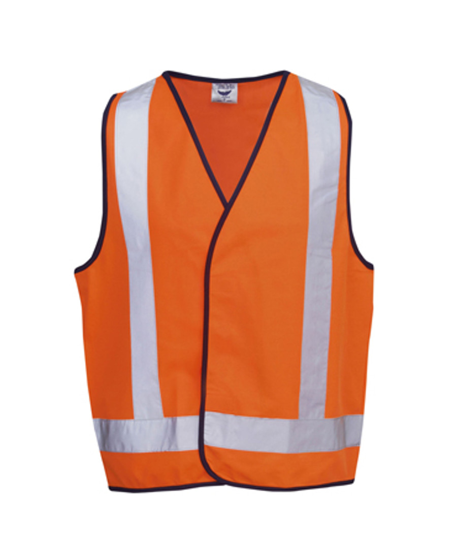 Safety Vest with X Pattern - Fluoro Orange/Navy (Front)