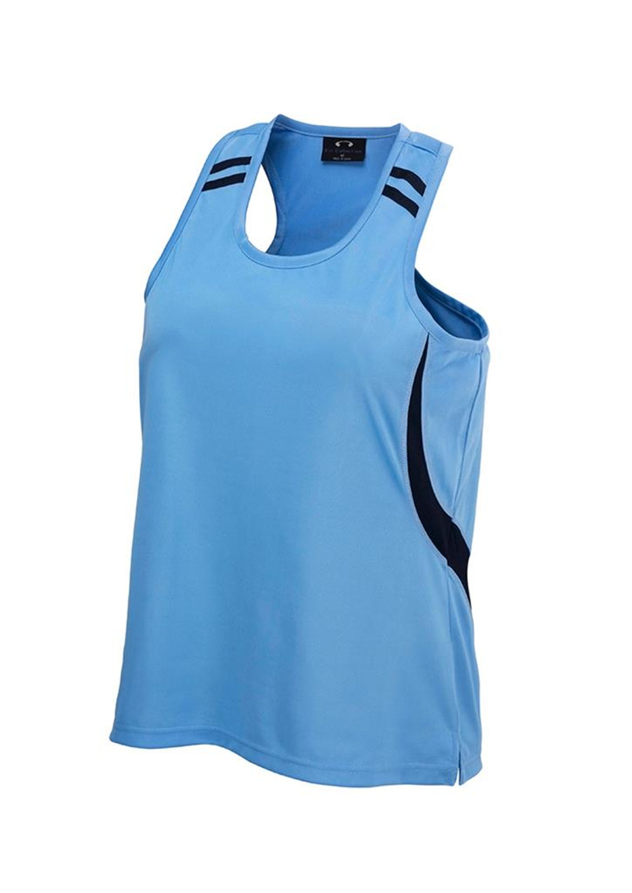 Mens Flash Singlet  (Sky Blue/Navy)