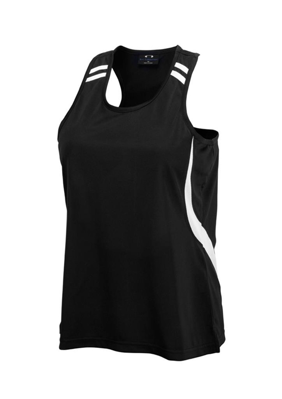 Ladies Flash Singlet (Black/White)