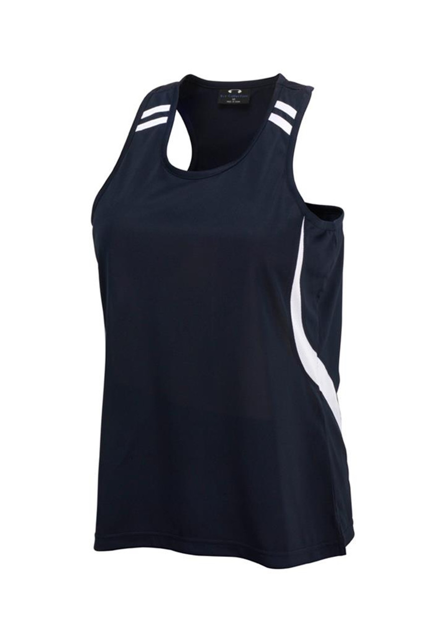Ladies Flash Singlet (Navy/White)