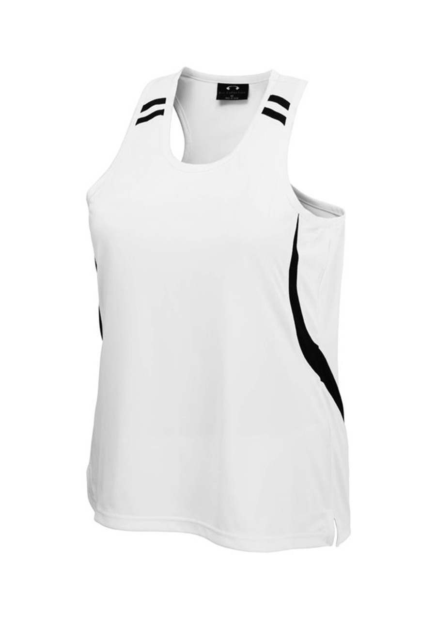 Ladies Flash Singlet (White/Black)