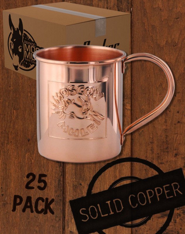 25 Pack - 18oz Embossed Logo, Copper Moscow Mule Mugs