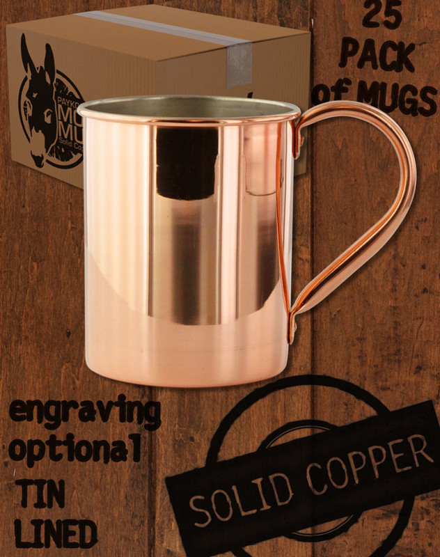 25 Pack - 13.5oz Tin-Lined Solid Copper Moscow Mule Mugs