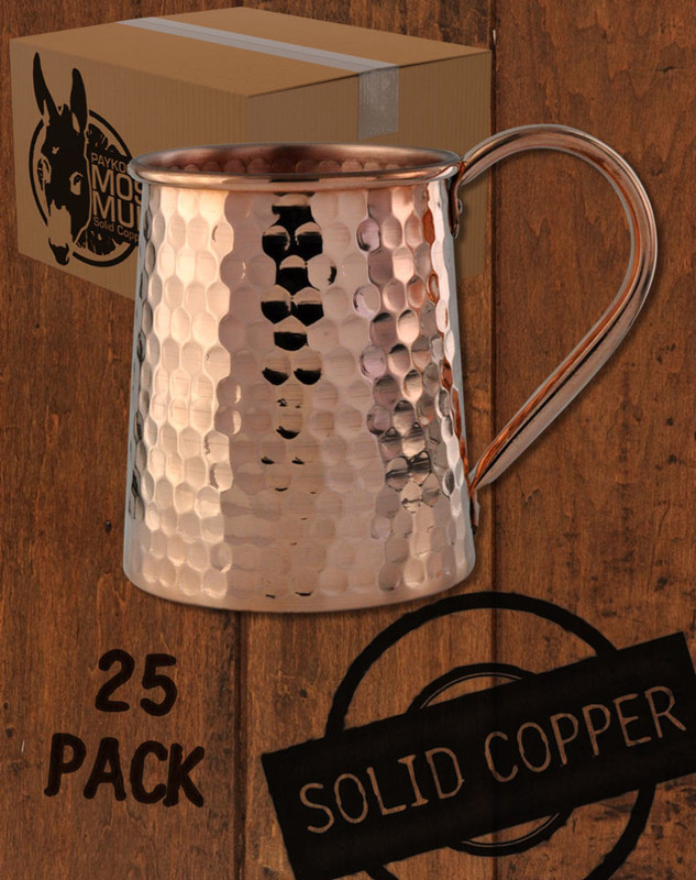 25 Pack - 16oz Solid Copper Hammered Standard Tankards