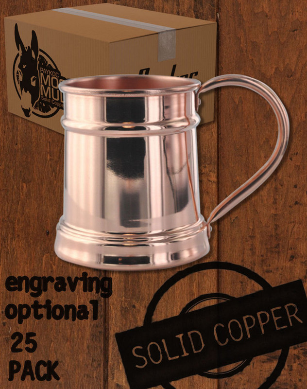 25 Pack - 15oz Solid Copper Moscow Mule Steins