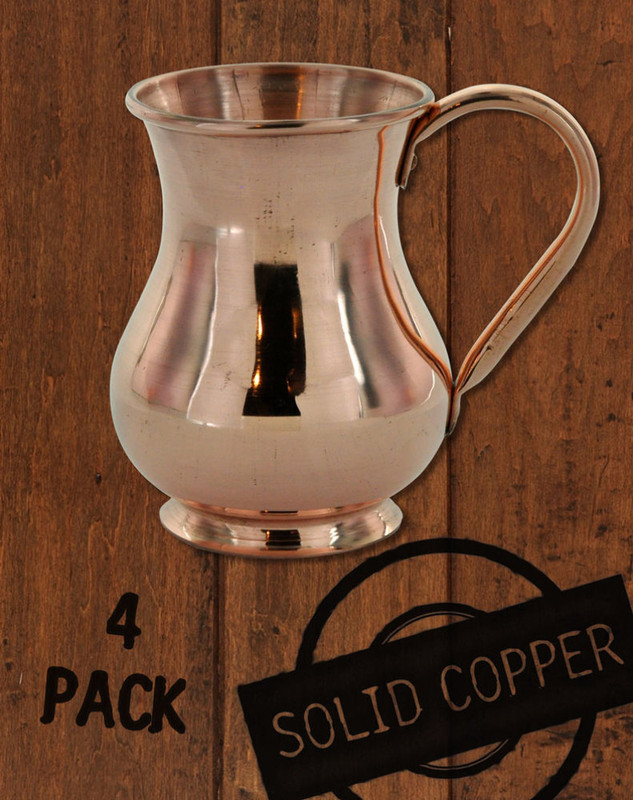4 Pack - 13.5 oz Solid Copper Moscow Mule Kettle Mug