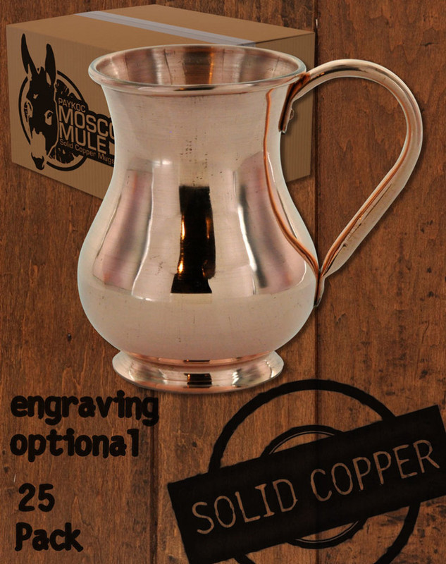 25 Pack - 13.5 oz Solid Copper Moscow Mule Kettle Mug