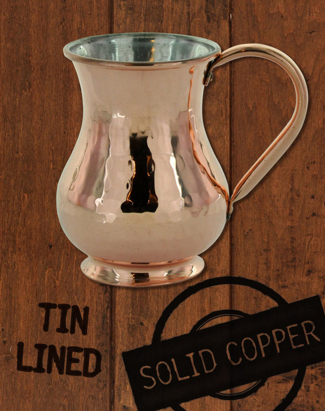 13.5 oz Hammered, Solid Copper Tin Lined Moscow Mule Kettle Mug