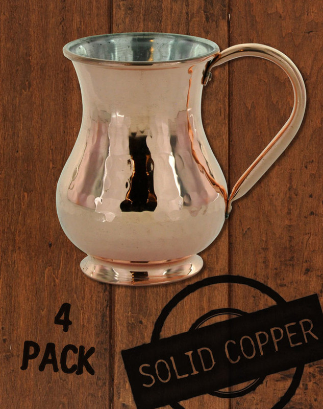 4 Pack - 13.5 oz Hammered, Solid Copper Tin Lined Moscow Mule Kettle Mug