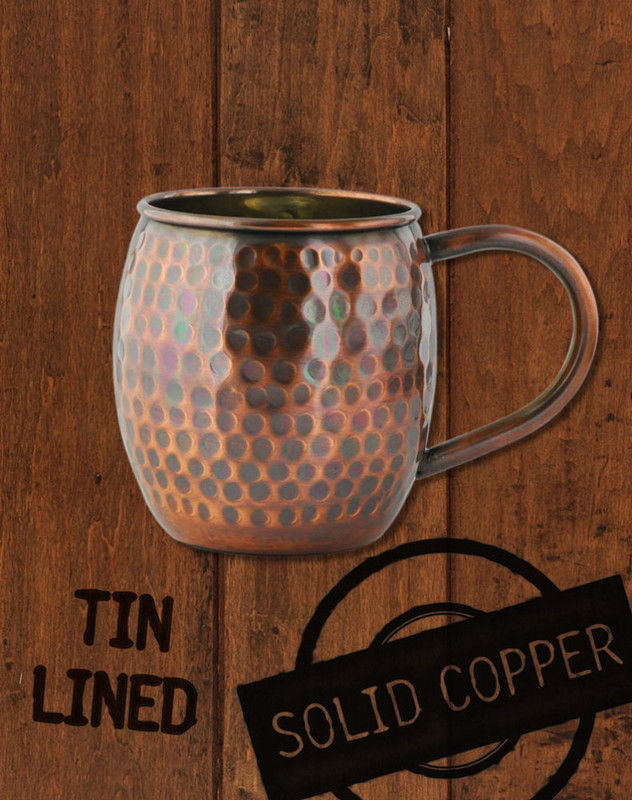 18oz Hammered Antique Finish Barrel Copper Moscow Mule Mug by Paykoc MM3459