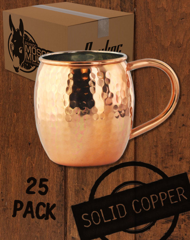 25 Pack - 18oz Hammered Copper Barrel Moscow Mule Mugs