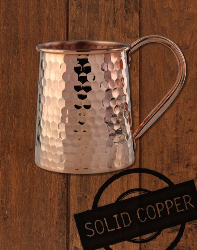 16oz Solid Copper Hammered Standard Tankard
