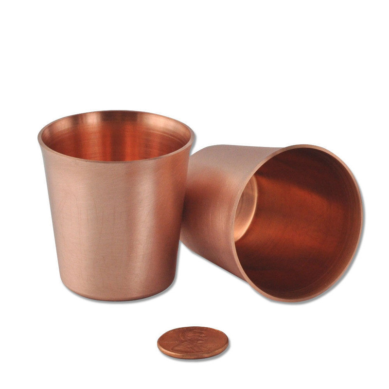 2 Small Solid Copper Moscow Mule Shot Glasses, New