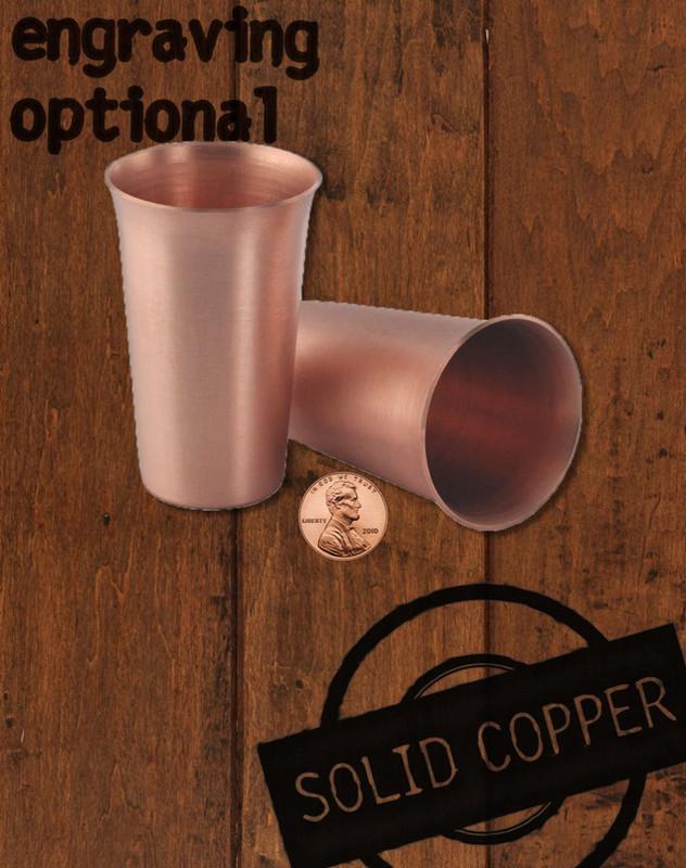 Set of 2 Large Copper Shot Glasses