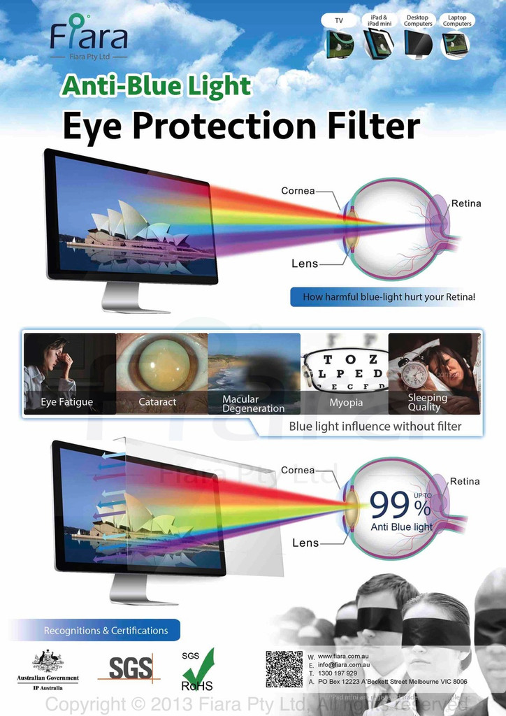 "Fiara Anti-blue Light Screen Filter/Protector | Fits 19""inch 16:9 LED/LCD Desktop Monitors W435 x H290mm; UV & HEV Blue Light Protection is PROVEN/VERIFIED to protect eye vision by INNOVATION PATENT AUSTRALIA"