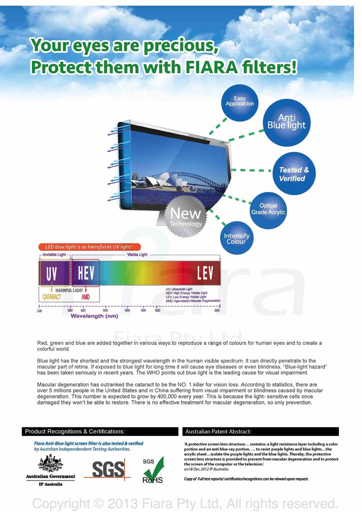 "Fiara Anti-blue Light Screen Filter/Protector | Fits 20""/21""/22"" inch 16:9 Desktop Monitor W490 x H317mm; UV & HEV Blue Light Protection is PROVEN/VERIFIED to protect eye vision by INNOVATION PATENT AUSTRALIA"