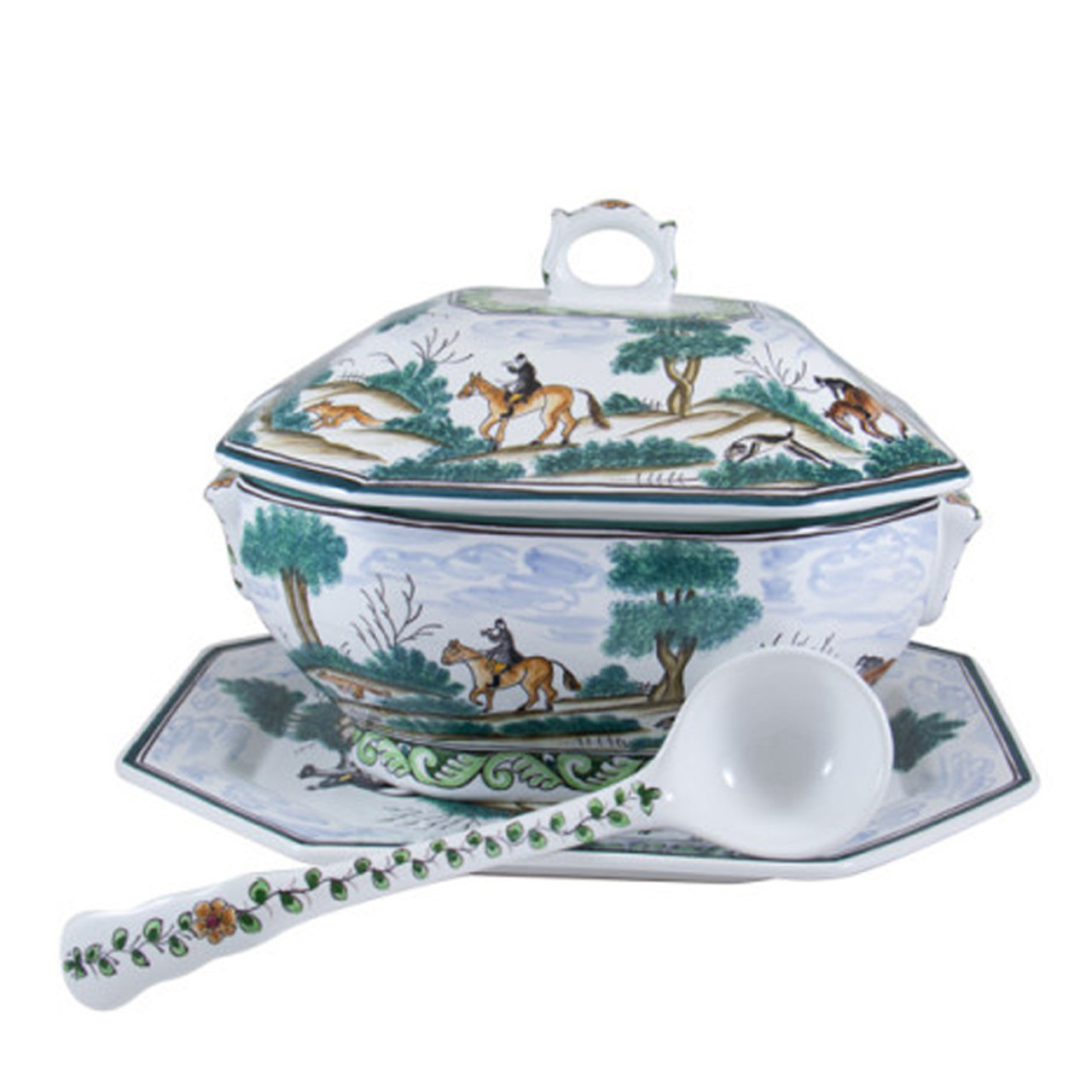 C.E. Corey Century Hunt Octagonal Soup Tureen Set A truly magnificent and whimsical fox hunt scene  sc 1 st  Plum Pudding & C.E. Corey Century Hunt Tureen Set