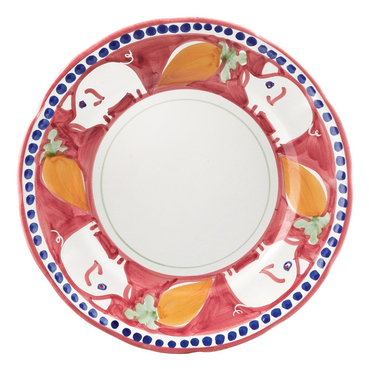 The colorful Vietri Solimene C&agna Porco Dinner Plate features whimsical handpainted pigs and carrots. Made  sc 1 st  Plum Pudding & Vietri Solimene Campagna Porco Dinner Plate