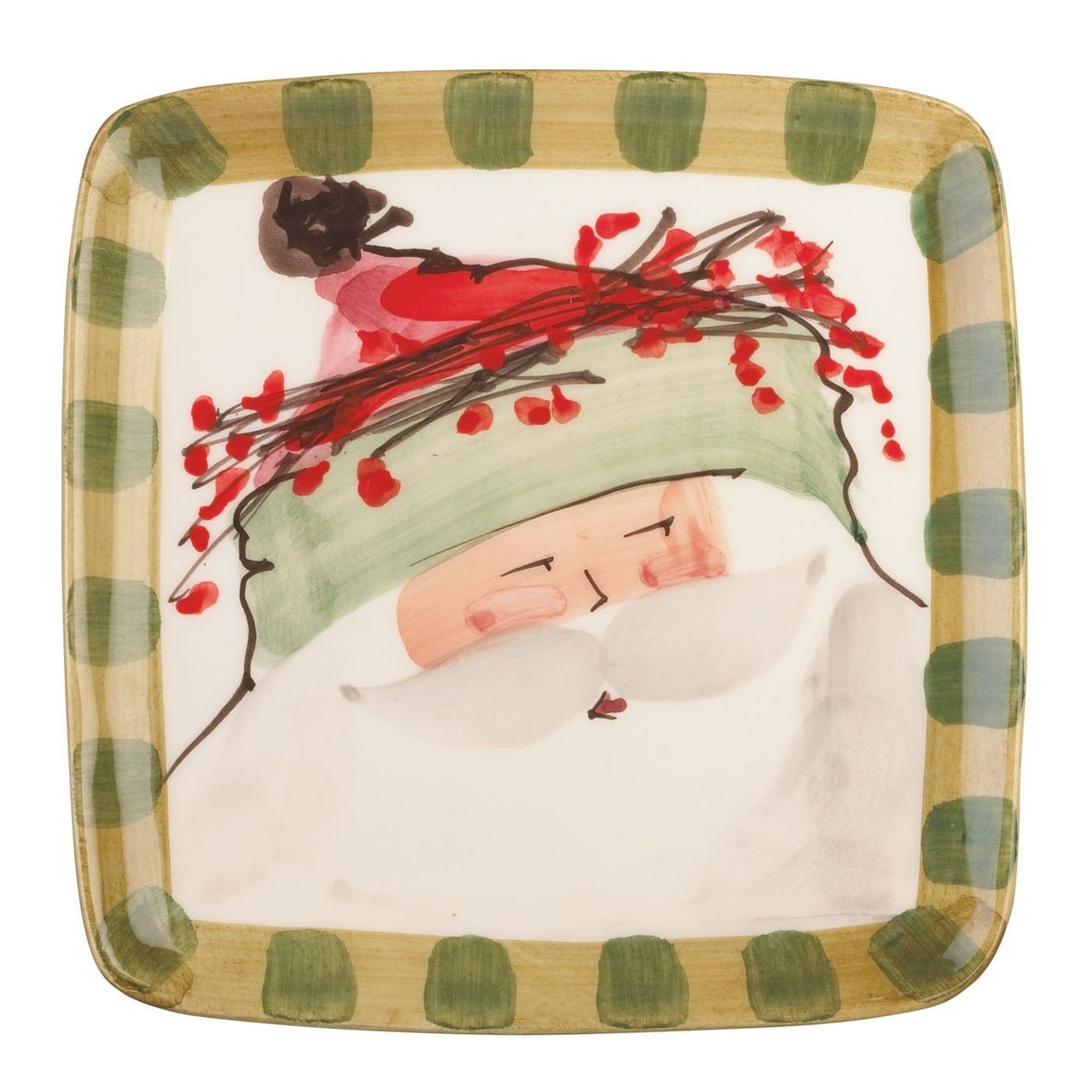 Our Old St. Nick Green Hat Square Salad Plates are handpainted by maestro artisan Alessandro  sc 1 st  Plum Pudding & Vietri Old St Nick Green Hat Square Salad Plate
