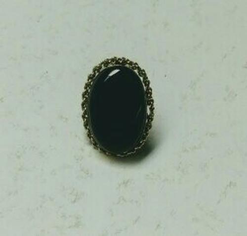 Big Black Onyx Ring. Adjustable band. made with Tibetan silver.