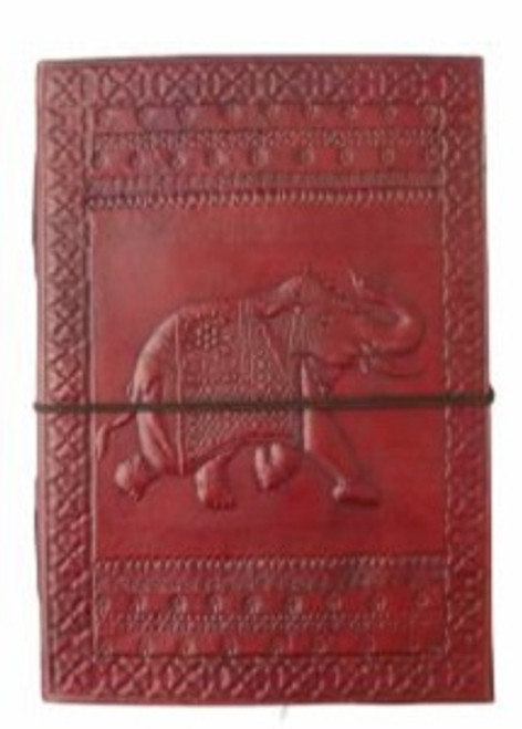 Elephant Large Journal Approx 18cm x 13cm x 3.5cm wide. Beautifully handcrafted journal with stenciled leather & recycled paper. Made in India.