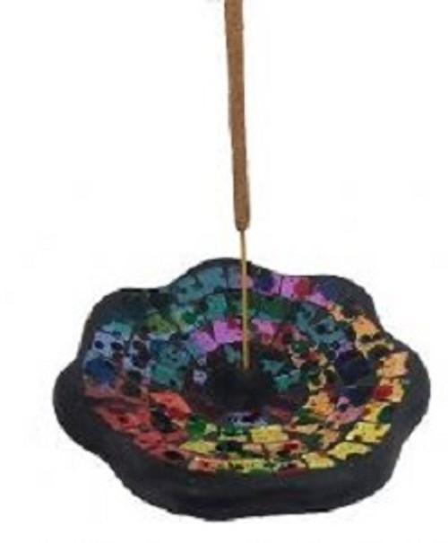 Incense Holder Coloured mosiac. Approx 10cm x cm.