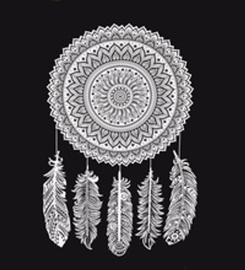 Dream Catcher Throw. Black & white, queen size 210 x 240cm. Hand printed & made in India. 100% cotton